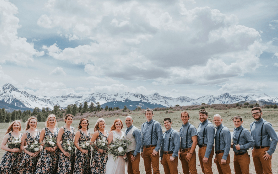 Group photo in Colorado Mountain Wedding