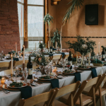 Rehearsal dinner set up for a destination wedding in Colorado
